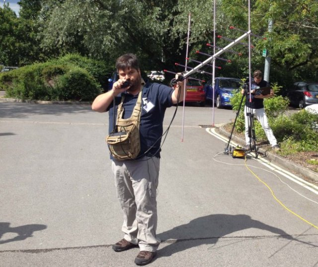 Drew Glasbrenner M/KO4MA working FO-29 at the AMSAT-UK Colloquium 2015